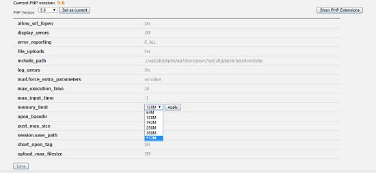 تنظیمات PHP